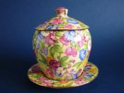 Rare Grimwades Royal Winton 'Sweet Pea' Chintz Jam Pot with Stand c1936